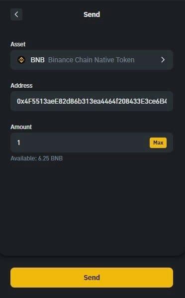 انتقال BNB را انتخاب کنید.انتقال BNB از Binance Smart Chain